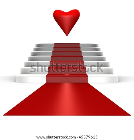 Red carpet for love - a 3d image - stock photo
