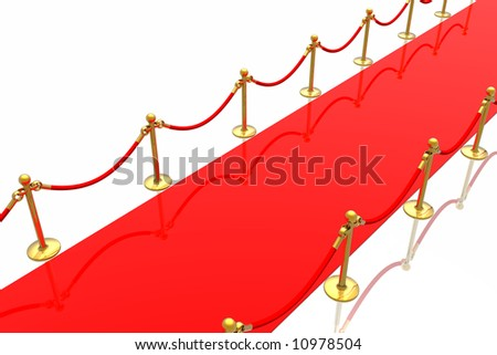 Red carpet isolated in white background - stock photo