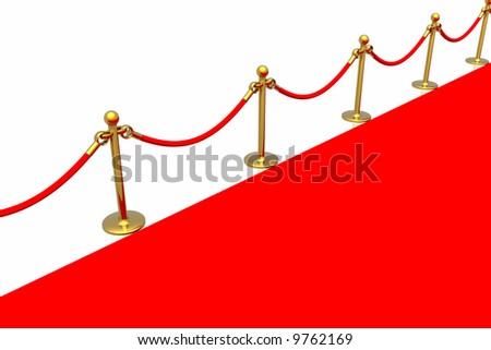 Red carpet isolated in white background