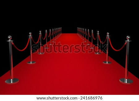 Red carpet isolated on black background - stock photo