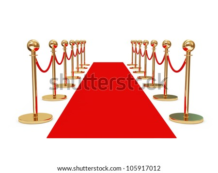 Red Carpet isolated on white background - stock photo