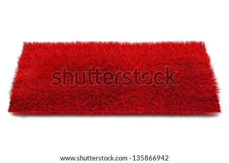 Red Carpet Isolated on White Background, 3d illustration - stock photo