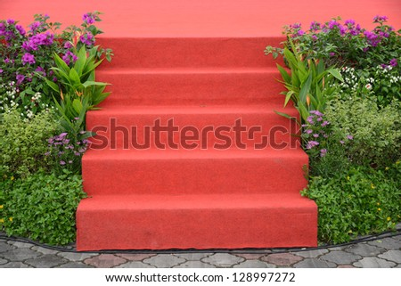 Red Carpet Leading To A Stage - stock photo