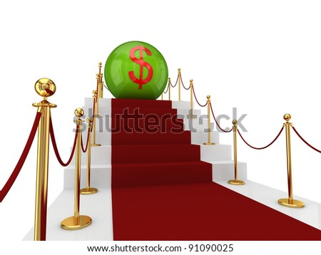 Red carpet on a stairs and dollar sign. Isolated on white background.3d rendered.