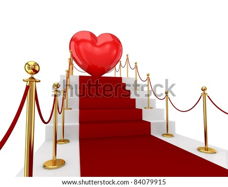 Red carpet on a stairs and Earth. 3d rendered. Isolated on white background.