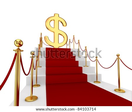 Red carpet on a stairs and green watch. 3d rendered. Isolated on white background. - stock photo
