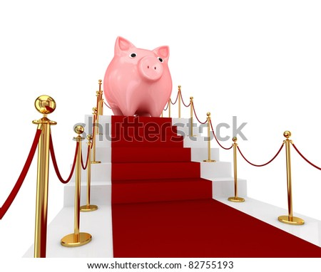 Red carpet on a stairs and piggy bank. 3d rendered. Isolated on white background.