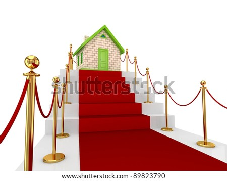 Red carpet on a stairs and small house. Isolated on white background.3d rendered. - stock photo