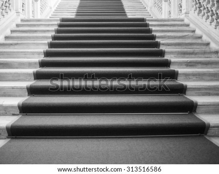 Red carpet on a stairway used to mark the route taken by heads of state, vips and celebrities on ceremonial and formal occasions or events in black and white - stock photo