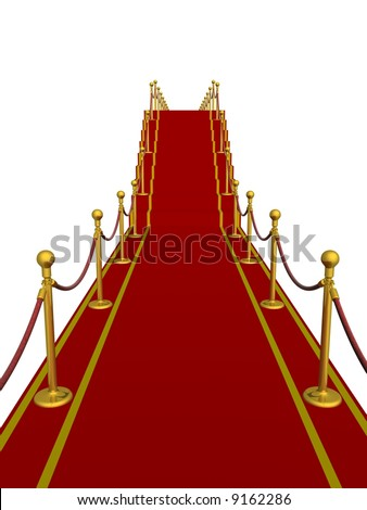 Red carpet path on a ladder. 3D image.