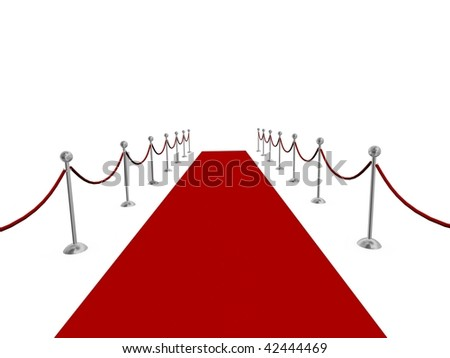 Red carpet rolled into distance - stock photo