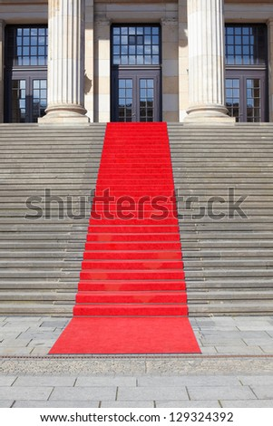 Red carpet stairway, clipping path included - stock photo