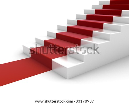 red carpet steps to success - stock photo