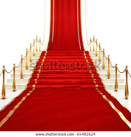 Red carpet to the stairs lined with gold stanchions on a white background - stock photo