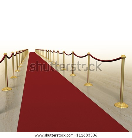 Red carpet treatment for VIPs with marble and white background - stock photo