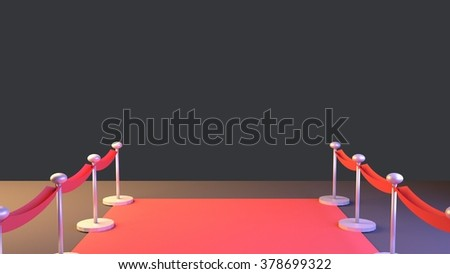 Red carpet, velvet rope and stanchions barrier. - stock photo