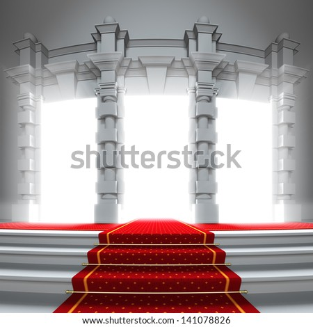 Red carpet way to the light portal. A 3d illustration of classical entrance to the future with red carpet. - stock photo