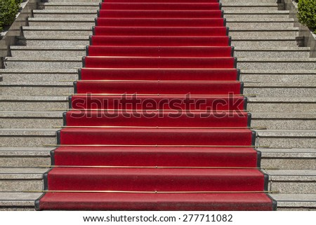 Red Carpet - welcome greeting for, winning, dignitaries or VIPs - stock photo