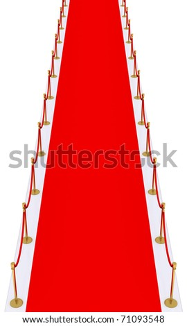 red carpet with gold stanchions - stock photo