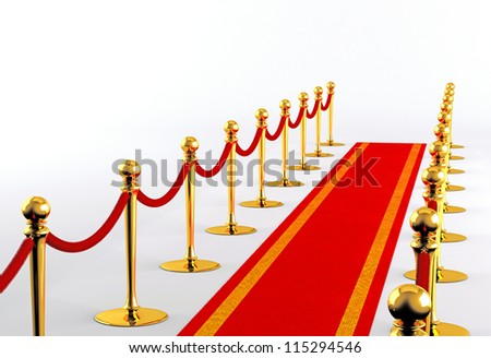 Red carpet with golden fence on a white background - stock photo