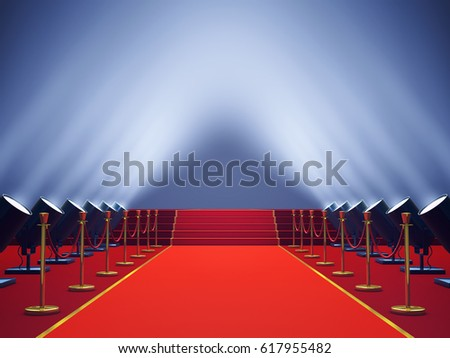 Red carpet with spotlights , Vip event and Award ceremony , 3d illustration