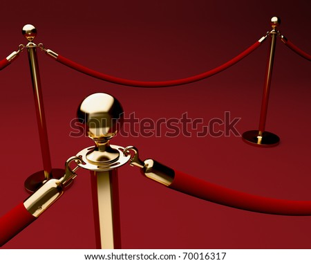 Red carpet with velvet rope barrier and shiny brass stanchions - stock photo