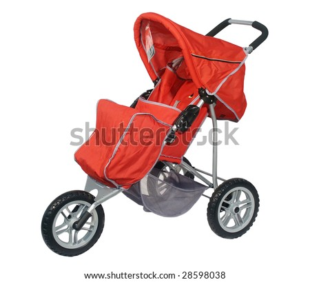 Red carriage on 3 wheels on a white background - stock photo