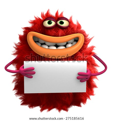 red cartoon hairy monster 3d - stock photo