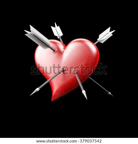 Red cartoon-like heart pierced with arrows isolated on black