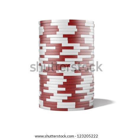 Red casino chips isolated on a white background - stock photo