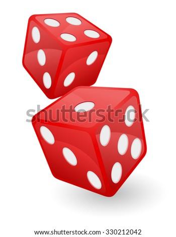 red casino dice illustration isolated on white background - stock photo