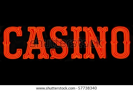Red casino neon sign isolated on black