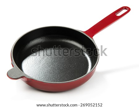 Red Cast Iron Pan - stock photo