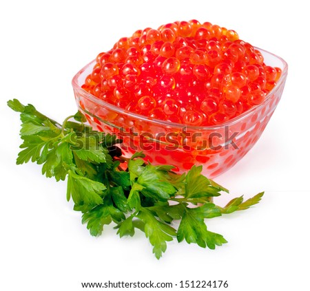 Red caviar in the bowl isolated on a white  - stock photo
