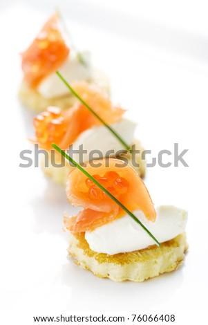 red caviar, salmon, red fish fish, food, delicatessen, cake delicatessen, snack - stock photo
