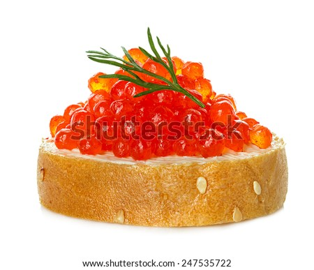Red caviar with bread isolated - stock photo