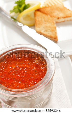 red caviar with toast