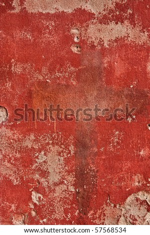 Red cement wall texture - stock photo