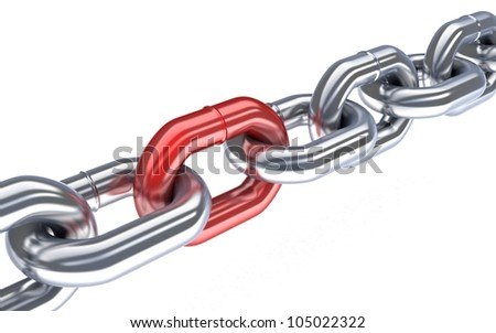 Red chain (done in 3d, isolated) - stock photo
