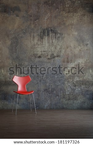 Red chair in old environment art style