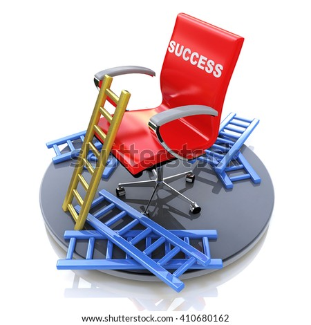 Red chair with an inscription - success in the design of information related to success and failure.3D Illustration - stock photo