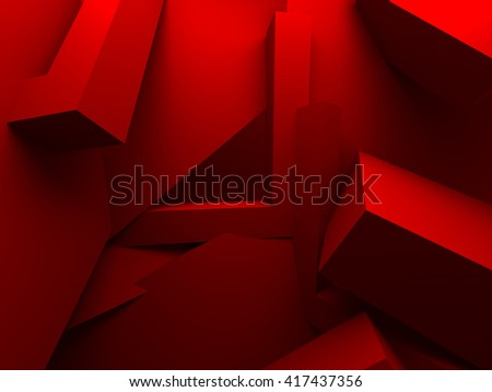 Red Chaotic Architecture Abstract Background. 3d Render Illustration - stock photo