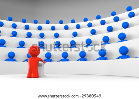 red character standing by a lectern facing an audience of blue characters sitting in five levels of tiered seating; shiny characters version; 3d rendering - stock photo