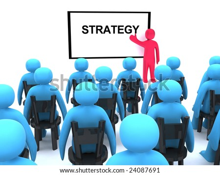 Red character talking about strategy. This is 3d render. - stock photo
