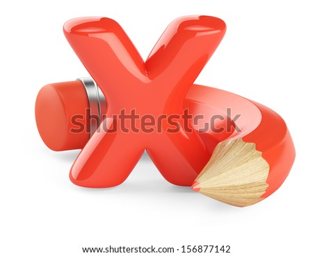 red check mark and pencil isolated on white background. 3d rendered image - stock photo
