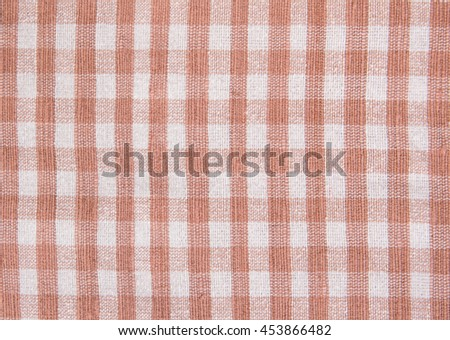 Red checkered tablecloth texture for background with copy space - stock photo