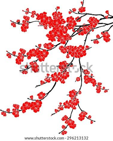 Red Cherry blossom, sakura flowers isolated on white background. Illustration - stock photo