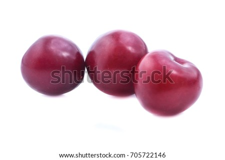 red cherry plum  isolated on white background