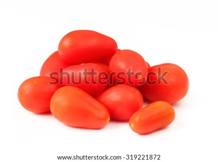 Red cherry tomatoes pear shaped isolated on white - stock photo