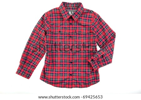 Red cheskered boy shirt isolated on white - stock photo